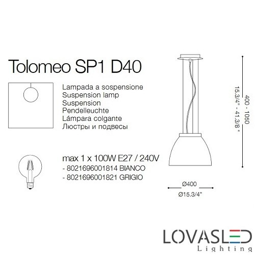 Ideal Lux Tolomeo SP1 Grigio függeszték