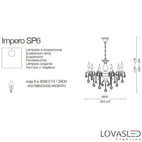 Ideal Lux Impero SP6 6 ágú csillár