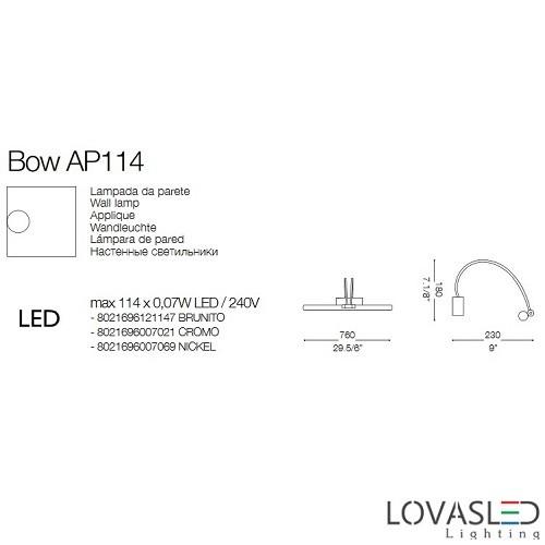 Ideal Lux Bow AP114  Cromo képmegvilágító 76cm
