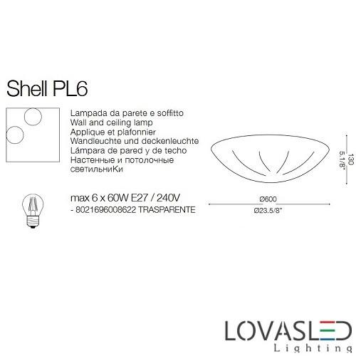 Ideal Lux Shell PL6 mennyezeti lámpa