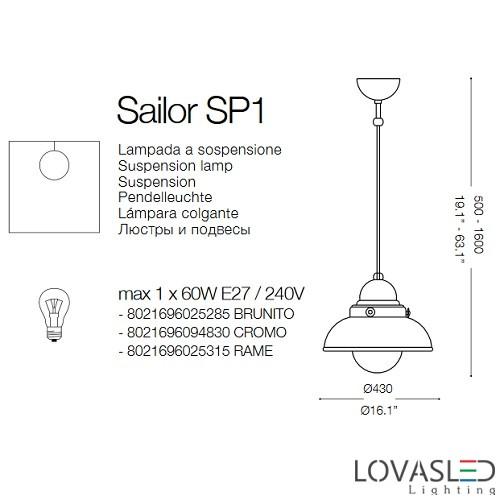 Ideal Lux Sailor SP1 D43 Brunito függeszték