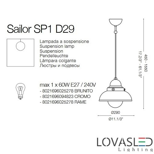 Ideal Lux Sailor SP1  D29 Brunito függeszték