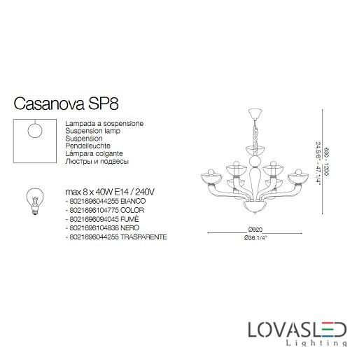 Ideal Lux Casanova SP8 Trasparente 8 ágú csillár