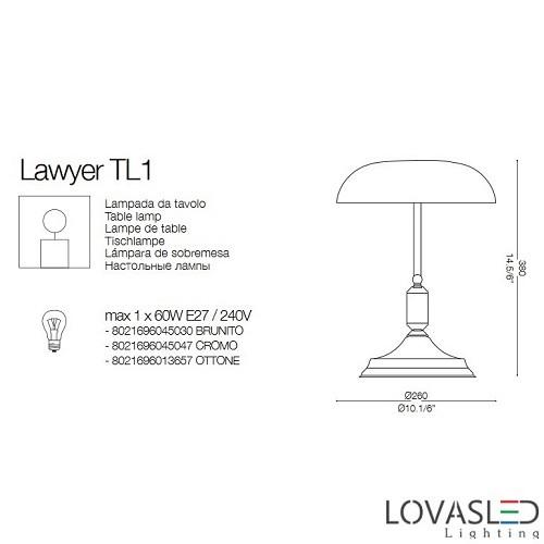 Ideal Lux Lawyer TL1 Cromo banklámpa