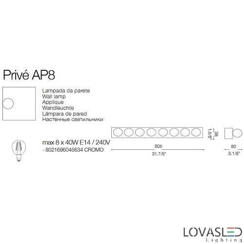 Ideal Lux Privé AP8 oldalfali lámpa