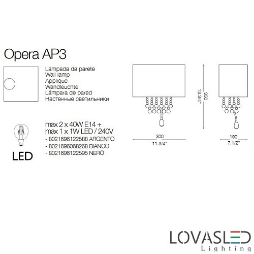 Ideal Lux Opera AP3 Bianco falikar