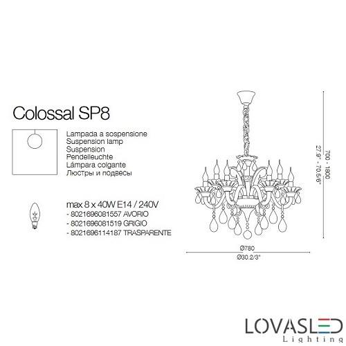 Ideal Lux Colossal SP8 Grigio 8 ágú csillár