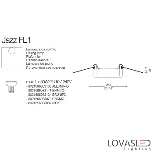 Ideal Lux Jazz FI1 Nickel spot keret