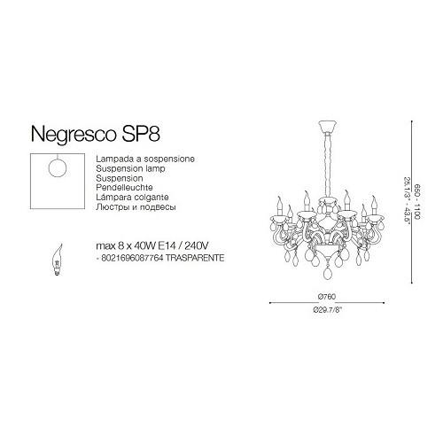 Ideal Lux Negresco SP8 8 ágú csillár