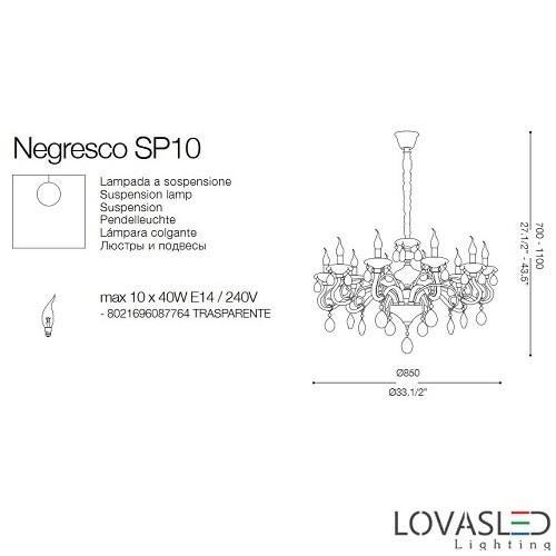 Ideal Lux Negresco SP10 10 ágú csillár