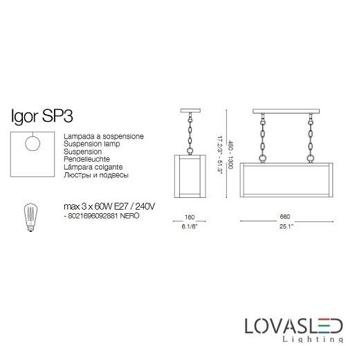 Ideal Lux Igor SP3 függeszték