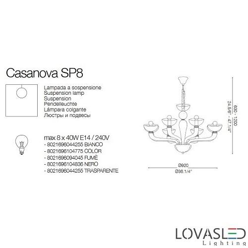 Ideal Lux Casanova SP8 Fumé 8 ágú csillár