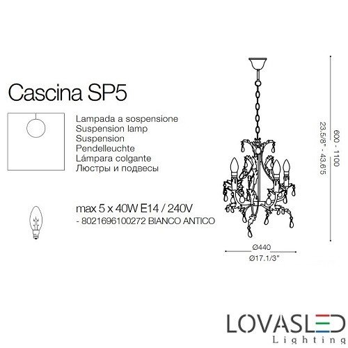 Ideal Lux Cascina SP5 5 ágú csillár