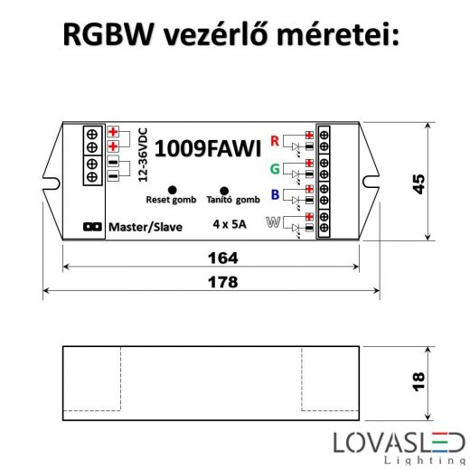 1009FAWI RGBW controller for LED strip, with WIFI