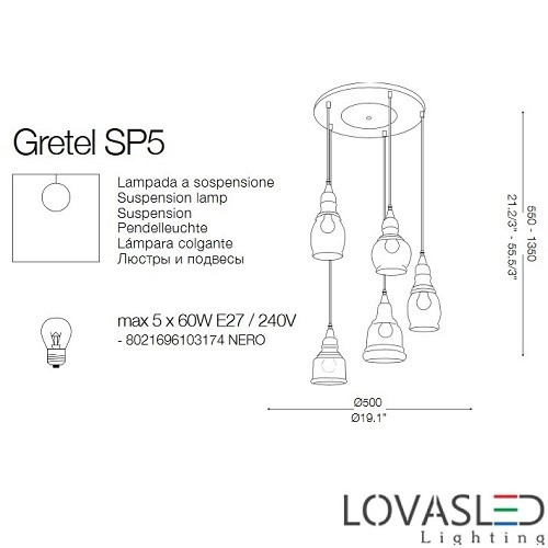Ideal Lux Gretel SP5 függeszték