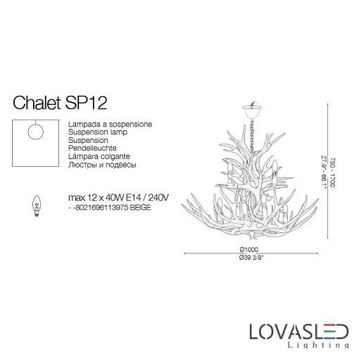 Ideal Lux Chalet SP12 12 ágú csillár