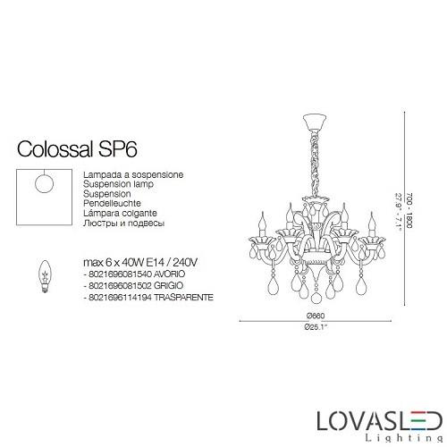 Ideal Lux Colossal SP6 Trasparente 6 ágú csillár