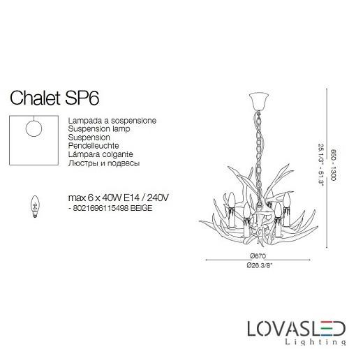 Ideal Lux Chalet SP6 6 ágú csillár
