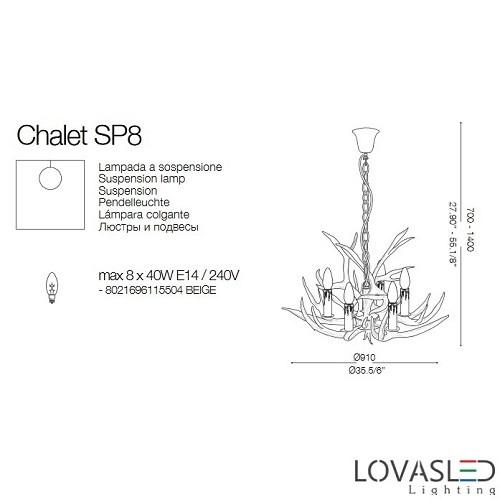 Ideal Lux Chalet SP8 8 ágú csillár