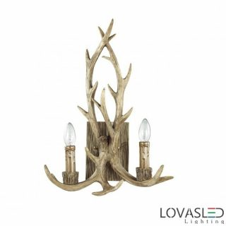 Ideal Lux Chalet AP2 wall lamp with 2 arms