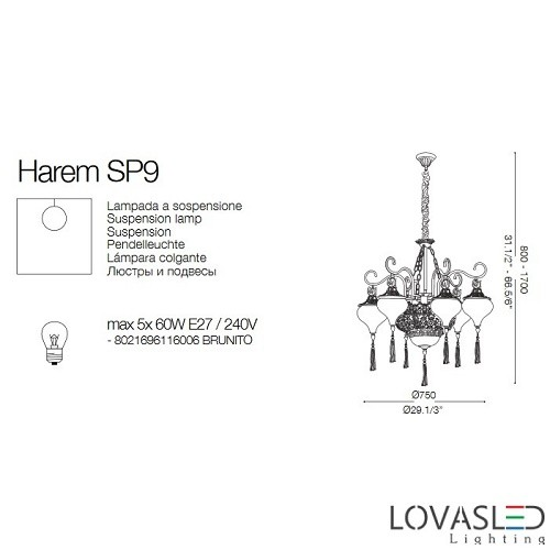 Ideal Lux Harem SP9 9 ágú csillár