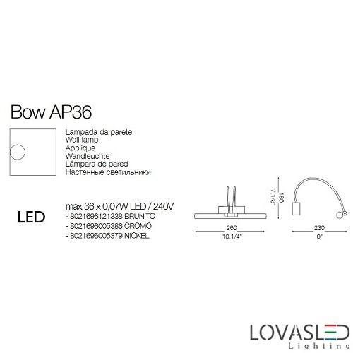 Ideal Lux Bow AP36 Brunito képmegvilágító 26cm