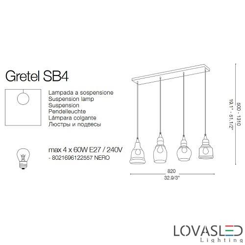 Ideal Lux Gretel SP4 függeszték