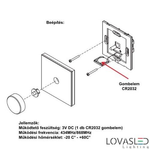 Fali vezeték nélküli távirányító 2805R