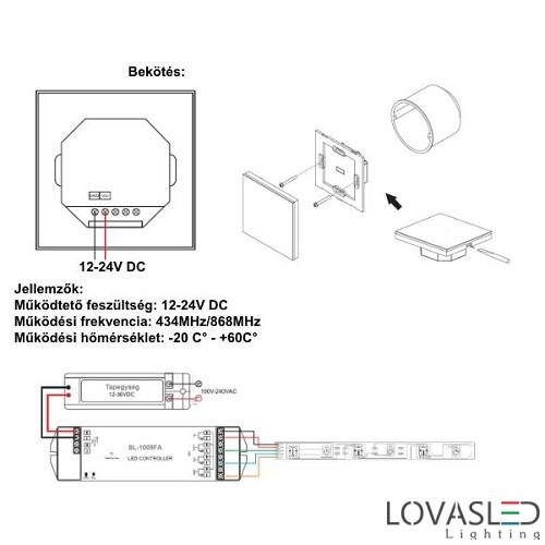 Fali távirányító RGBW vezérlőhöz 2820