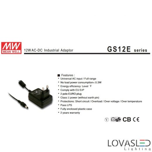 Adapter Mean Well AC-DC GS12E12-P1I
