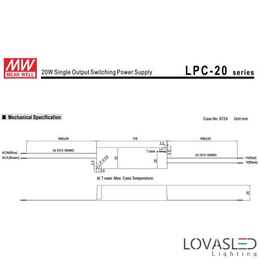 Mean Well LPC-20-350, 20W, 350mA, 9-48V