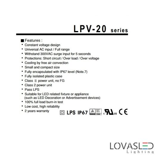 Mean Well LPV 20W 5V