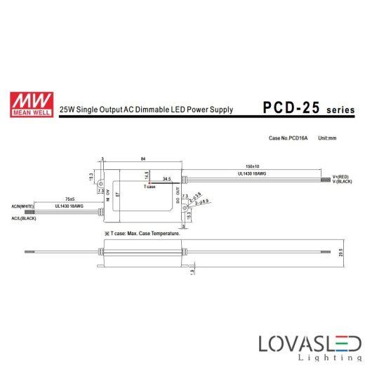 Mean Wel PCD-25-1050, 25W, 1050mA, 16-24V