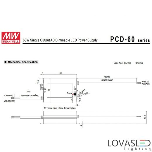 Mean Well PCD 60W 1400mA 25-43V