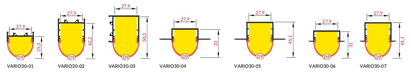 Bepattintható íves fedél VARIO alumínium profilokhoz