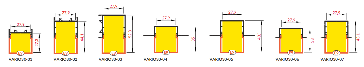 Bepattintható szögletes fedél VARIO alumínium profilokhoz
