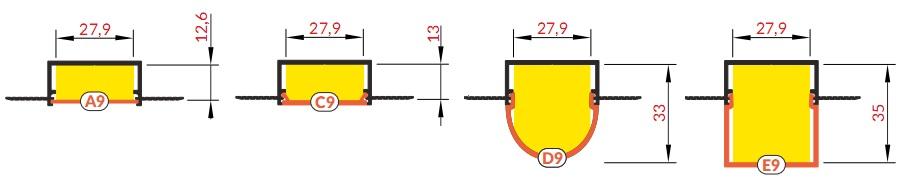 Fedelek a VARIO30-04 alumínium profilhoz